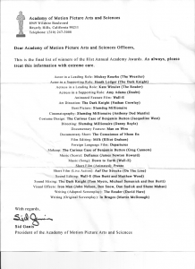 Spoiler: All the Oscars Winners – Academy Awards winner revelead in a leaked fax