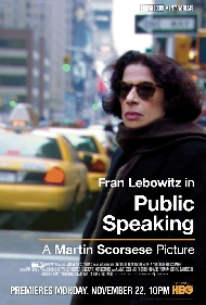 HBO Documentary: Public Speaking, by Martin Scorsese, about Fran Lebowitz