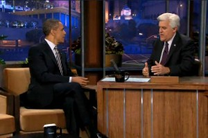 What did President Barack Obama talk to Jay Leno About tonight? Quotes