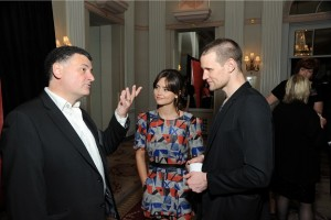 Doctor Who Executive Producer, Steven Moffat and cast members Matt Smith and Jenna Coleman chat at the Winners Reception at the 72nd Annual Peabody Awards at the Waldorf Astoria