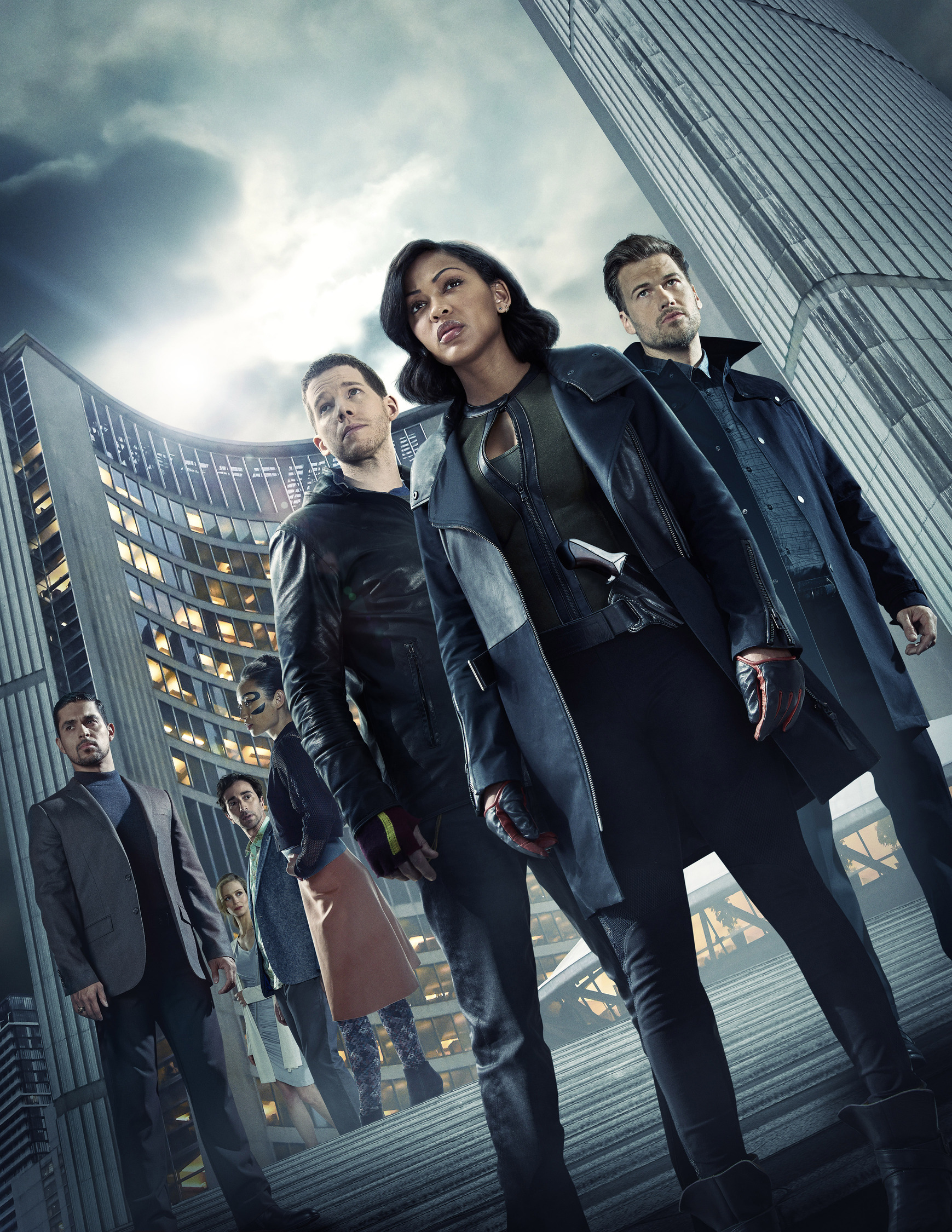 MINORITY REPORT: L-R: Wilmer Valderrama as Will Blake, Laura Regan as Agatha, Daniel London as Wally, Li Jun Li as Akeela, Stark Sands as Dash, Megan Good as Det. Lara Vega and Nick Zano as Arthur. . CR: Michael Becker / FOX. © 2015 FOX Broadcasting.