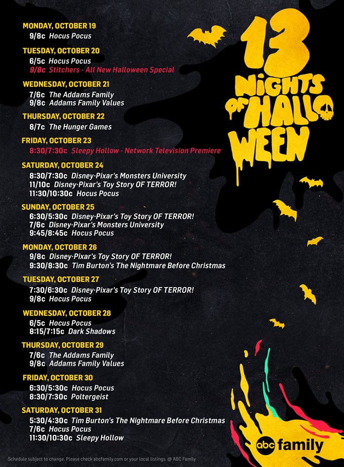abc family s 13 nights of halloween 2015 programming schedule series tv. Black Bedroom Furniture Sets. Home Design Ideas