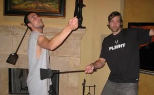 Photo of Manu Ginobili and Fabricio Oberto celebrating Del Potro US Open win by fake playing tennis