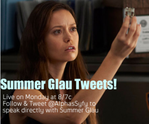 Summer Glau will live tweet during Alphas episode on Monday and other Syfy news