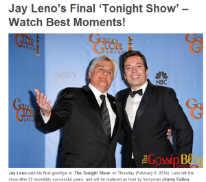 A lookback on The Tonight Show with Jay Leno getting ready for Fallon and Seth Meyers Late Night